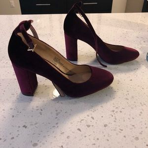 Maroon velvet block heels with ankle strap